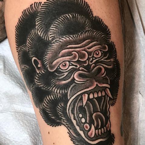gorilla portrait tattoo