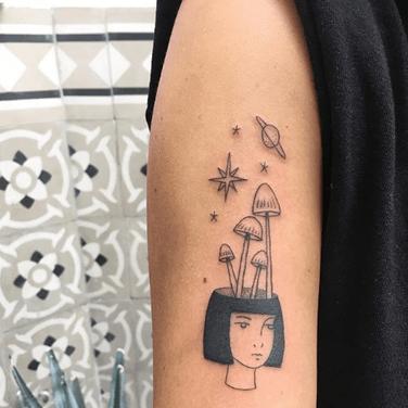 Female portrait tattoo by Christian