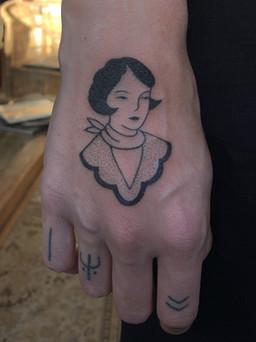 Female portrait on hand
