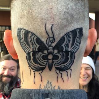 Head butterfly tattoo