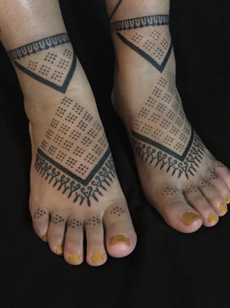 Handpoke feet tattoos