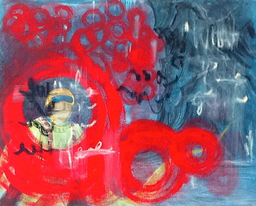 Space Guy Trapped in red Circles - SOLD