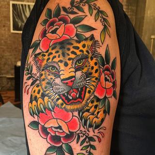 Jaguar and roses