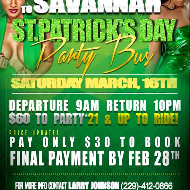 Valdosta St Patrick's Day Party Bus