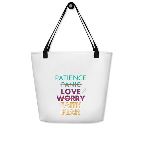 "PranaLakshmi ""Patience, Love, Faith"" Beach Bag"