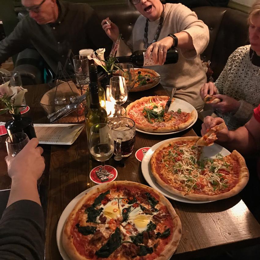 FACE enjoying pizza