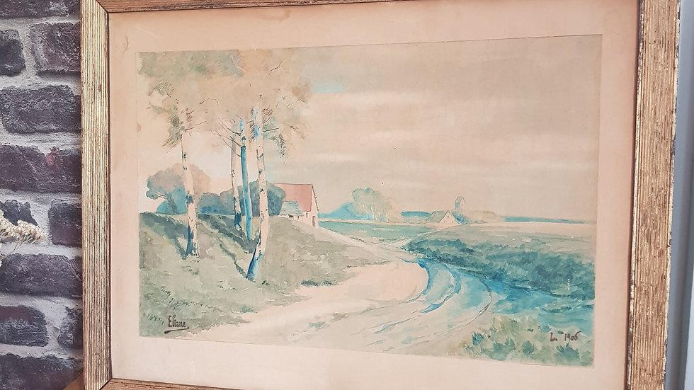 Aquarelle signée 1906