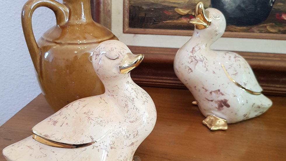 Duo de canards ceramique et or