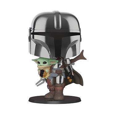 "Star Wars: The Mandalorian & Child (Chrome 10"") Pop! Figure"