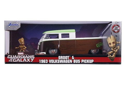 Groot &  1963 VW Bus Pickup Jada/Marvel 1:24 Die-Cast Automobile