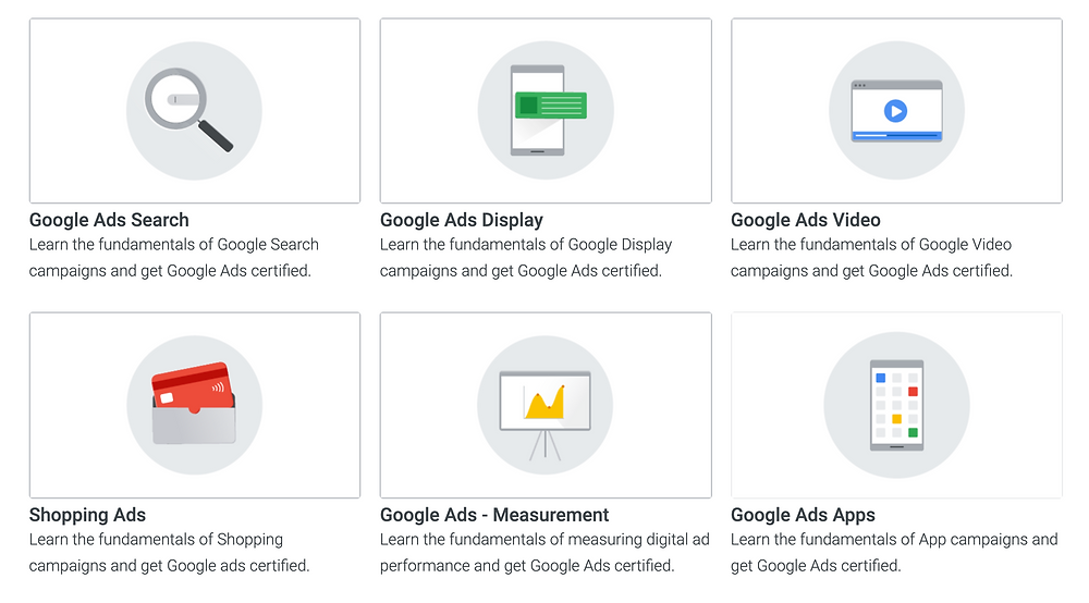 There are six certifications to choose from: Google Ads Search, Google Ads Display, Google Ads Video, Shopping Ads, Google Ads- Measurement, and Google Ads Apps.