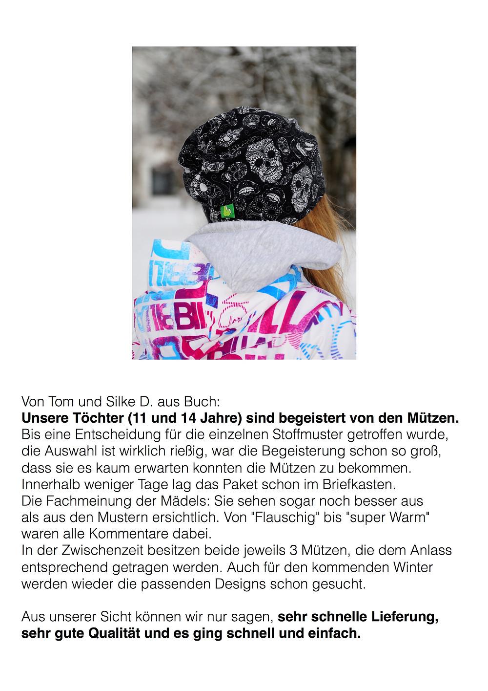 Feedback zu unseren Mützen von einer Familie aus Buch. Sixx-Zagg-Mützen von prettybanana.com. Deine individuelle Mütze aus München.