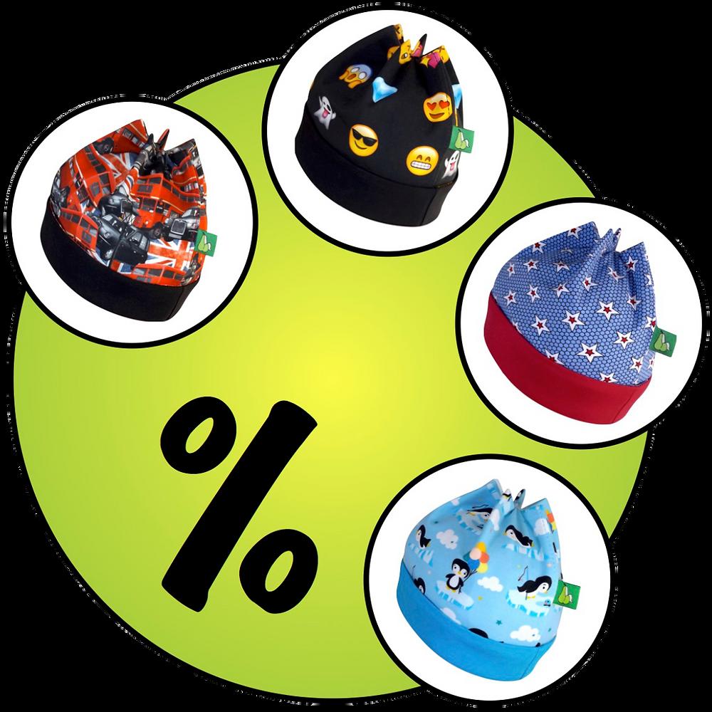 Die ersten 4 Sixx-Zagg-Mützen unserer Mustermützen-Rabatt-Aktion: London Traffic, Emojis, Lovely Stars und Pinguine Hellbau. prettybanana.com. Deine individuelle Mütze aus München.
