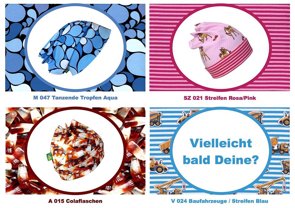 Frische Mützen aus den neuen Stoffen vom April. Sixx-Zagg-Mützen von prettybanana.com. Deine individuelle Mütze aus München.