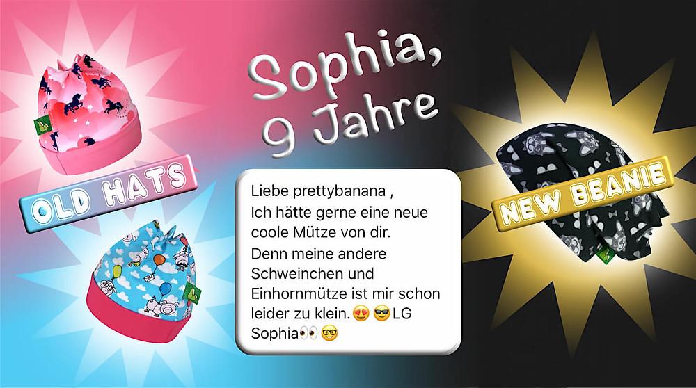 Zuckersüße Bestellung einer neuen Mütze von Sophia, 9 Jahre. Sixx-Zagg - Mützen von prettybanana.com. Deine individuelle Mütze aus München.
