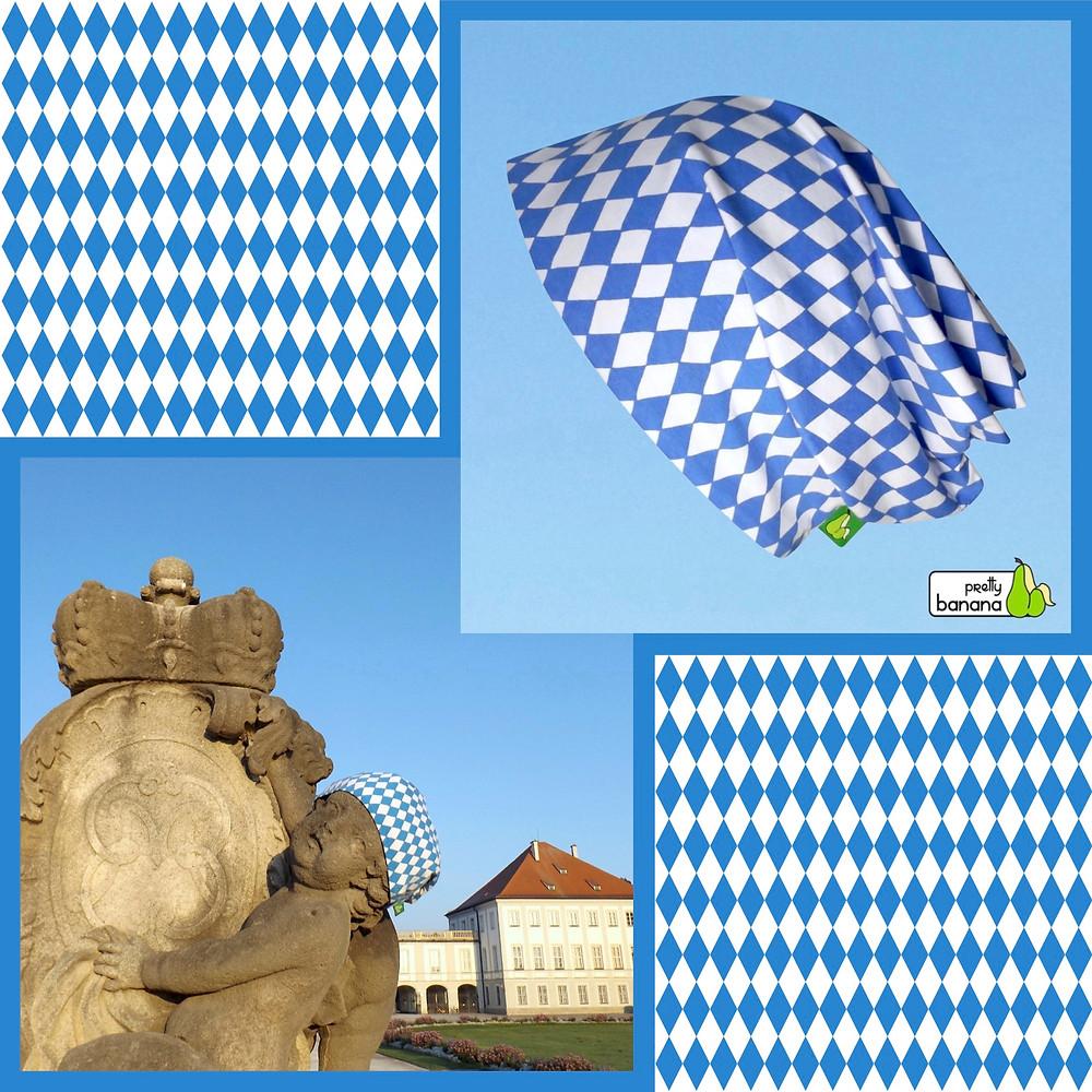 Maßgefertigte Beanie in den bayerischen Landesfarben für eine Putte vor Schloß Nymphenburg. Sixx-Zagg-Mützen von prettybanana.com. Deine individuelle Mütze aus München.