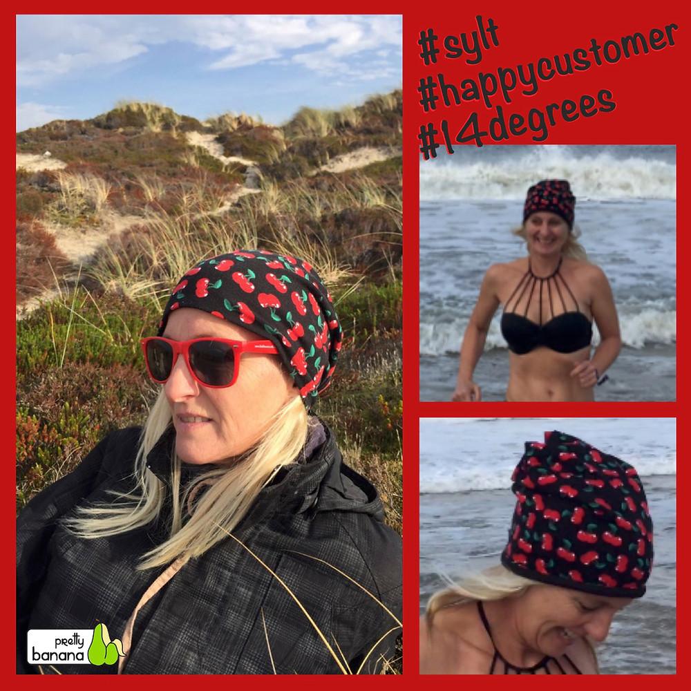 Sylt, Wind, 14 Grad ... die Mütze sitzt! Sixx-Zagg-Mützen von prettybanana.com. Deine individuelle Mütze aus München.