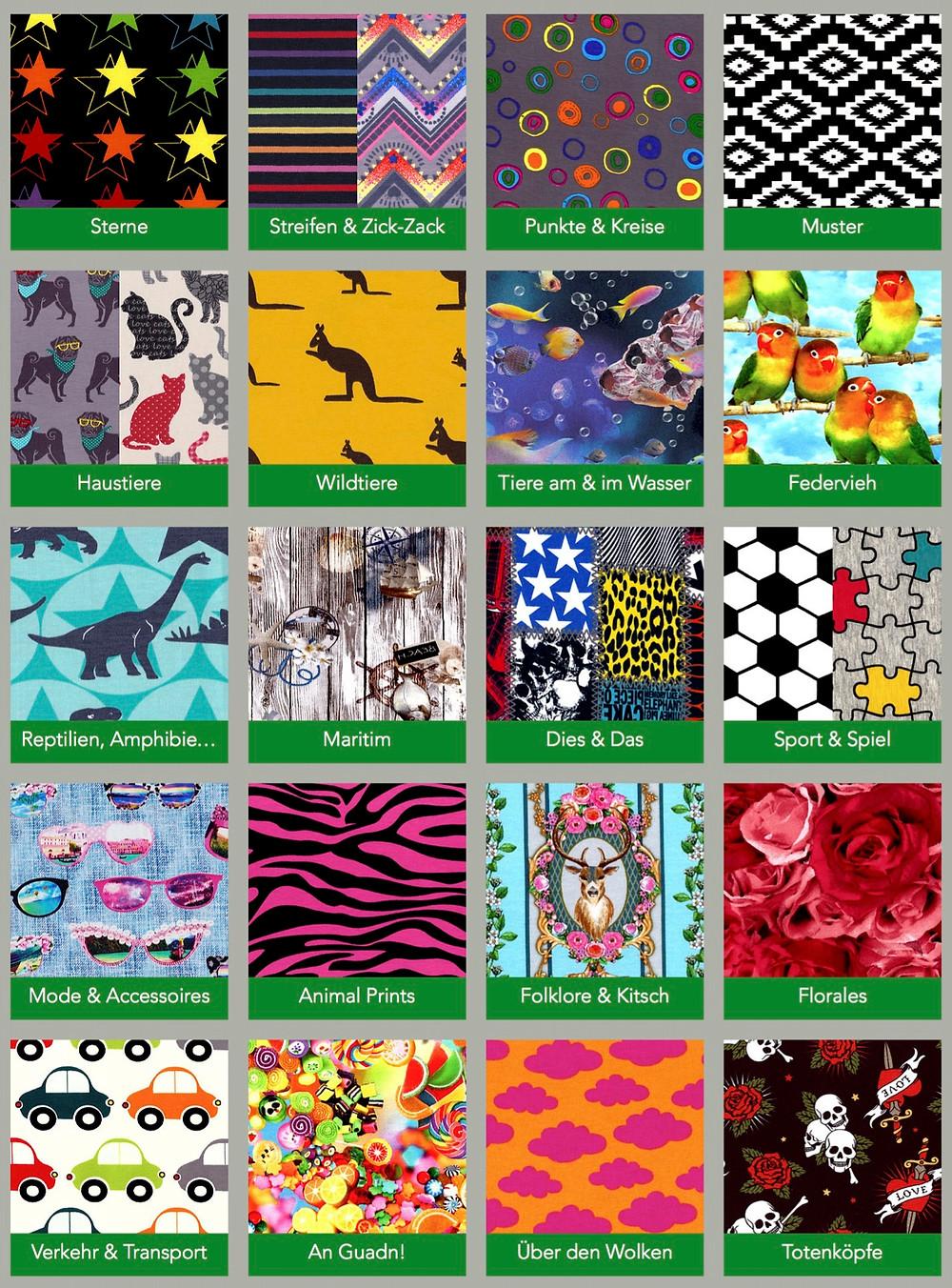 Überarbeitete Website. Stoffmuster jetzt in 20 neuen Themengebieten. Sixx-Zagg-Mützen von prettybanana.com. Deine individuelle Mütze aus München.
