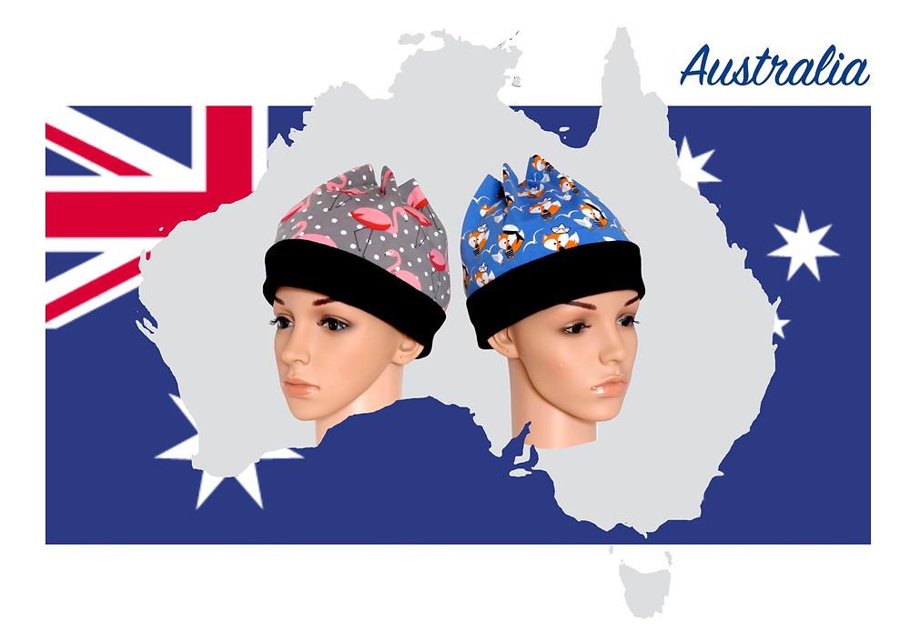 2 Sixx-Zagg-Mützen auf dem Weg nach Australien. Sixx-Zagg-Mützen von prettybanana.com. Deine individuelle Mütze aus München.