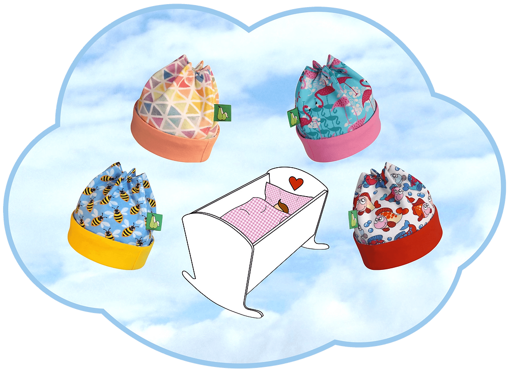 4 Babymützchen für ein Neugeborenes als Geschenk einer Großtante. Sixx-Zagg-Mützen von prettybanana.com. Deine individuelle Mütze aus München.