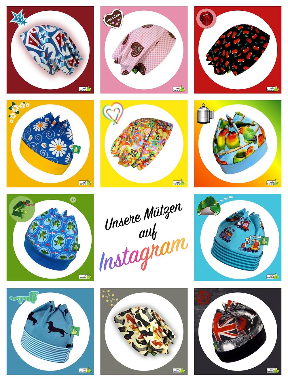 Unsere Mützen, gepostet auf Instagram. Sixx-Zagg-Mützen von prettybanana.com. Deine individuelle Mütze aus München.
