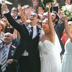 Wedding group cheering