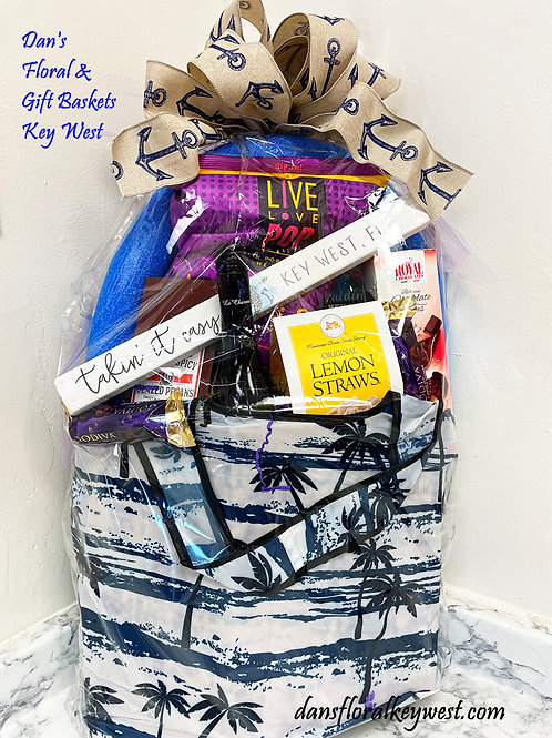 Gift BAG-SKET snacks, wine/champagne, chocolates & more all in a reusable bag