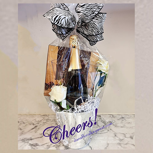 the Cheers ! Gift Basket - Champagne. Truffles & Roses *incl glasses & ice pail