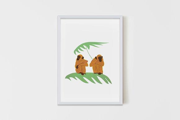 Monkeys on leaves 50X70 cm
