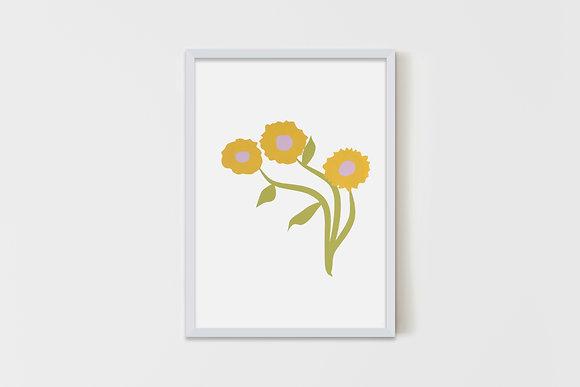 Three Simple Flowers yellow35X50 cm