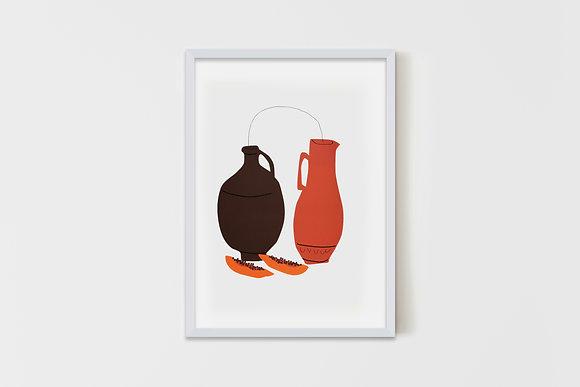 Vases & Papayas 50X70 cm