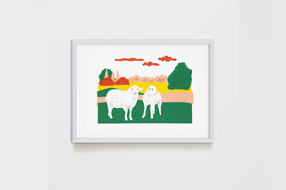 small Meadow Sheep 25X35 cm