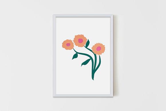 Three Simple Flowers Nude 35X50 cm