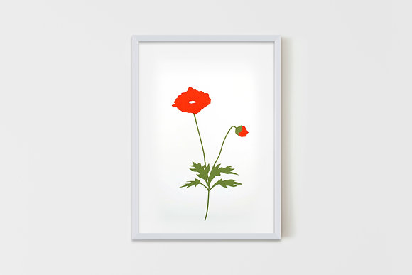 Medium Red Flower 35X50 cm