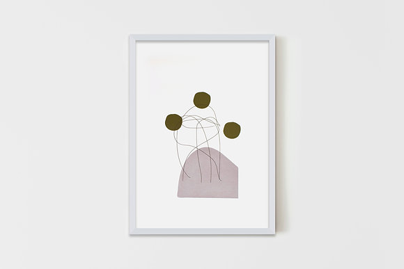 Three Round Abstract 50X70 cm