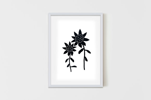 Black Flowers 50X70 cm