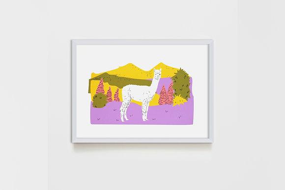 small Lanscape Lama #2 25X35 cm