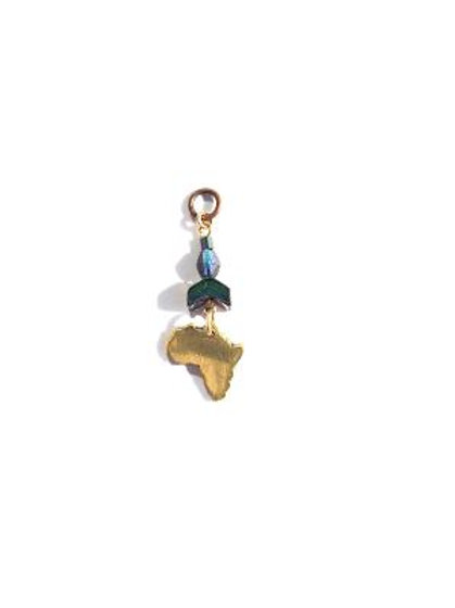 african nights brass & blue crystal loc charm