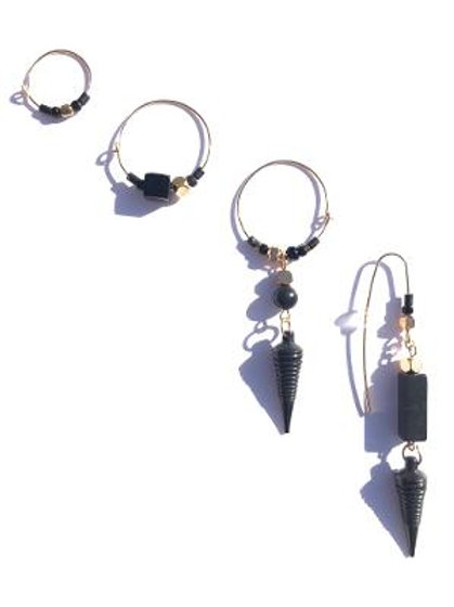 moon drop onyx, crystal & oxidized brass 4 piece earring set