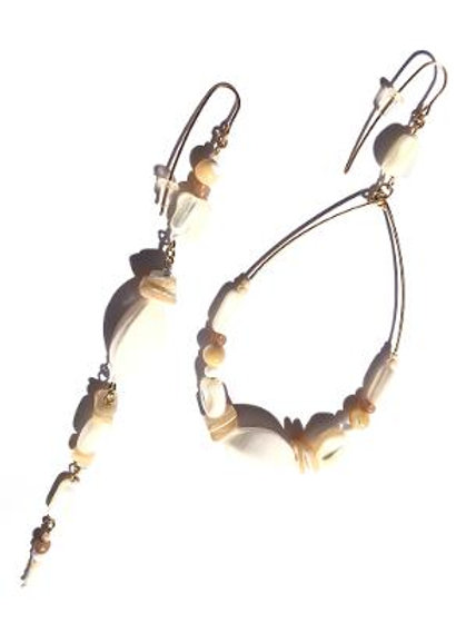 jumping through loops abalone shell & mother of pearl loop & straight earrings