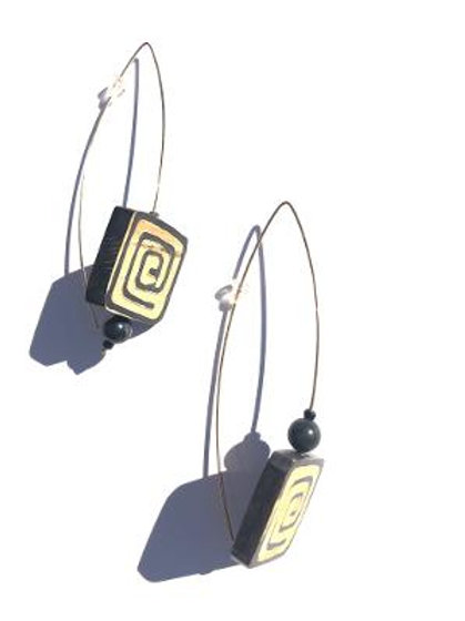 maze of my existence carved horn earrings