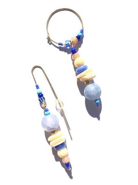 cloudy stars cornflower blue agate & abalone earrings