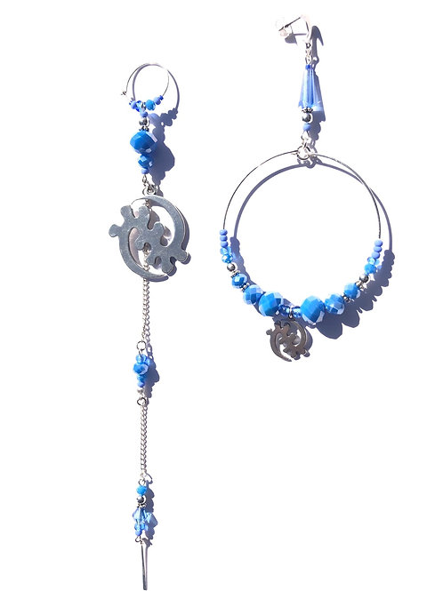 question not sterling silver gye nyame & cornflower blue crystal earrings