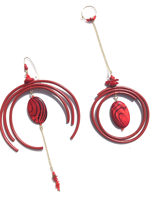firehouse hunk red leather & mother of pearl earrings