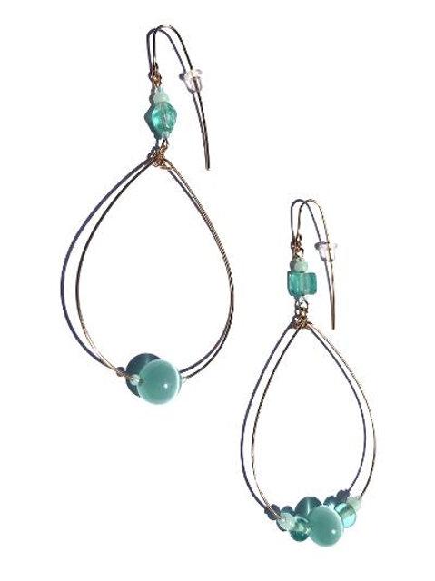 """cool breeze mint green cat""""s eye loop earrings"""