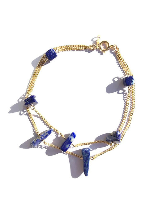roll up your jeans lapis lazuli double strand anklet