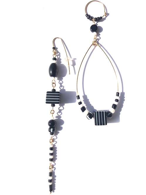 boardroom ready black & white pin striped loop & straight earrings