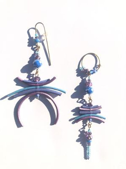 highly complimentary metallic lavender & blue leather & crystal earrings