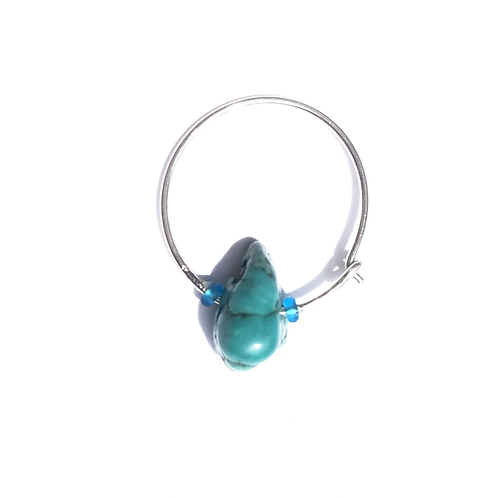 seascape sterling silver & turquoise mini hoop