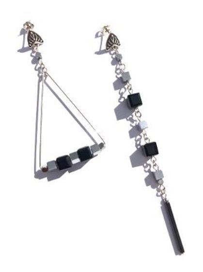 scraping the skies sterling silver, hemalite & black crystal earrings